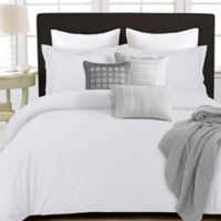 Tribeca Living 350-Thread-Count Cotton Percale Reversible Queen Duvet Cover Set in White