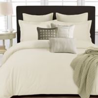 Tribeca Living 350-Thread-Count Cotton Percale Reversible Queen Duvet Cover Set in Ivory