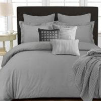 Tribeca Living 350-Thread-Count Cotton Percale Reversible King Duvet Cover Set in Silver