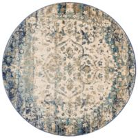 Loloi Rugs Anastasia Medallion 9-Foot 6-Inch Round Area Rug in Blue/Ivory