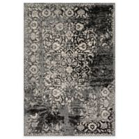Loloi Rugs Emory Distressed Damask 3-Foot 8-Inch x 5-Foot 6-Inch Area Rug in Black/Ivory
