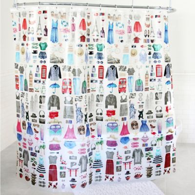 Genial Travel Girl PEVA Shower Curtain In Multicolor