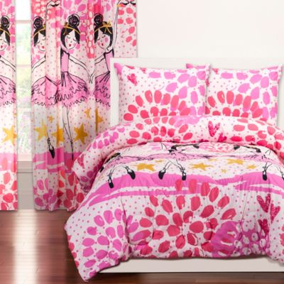 CrayolaR Twinkle Toes Reversible 3 Piece Full Queen Comforter Set In Pink