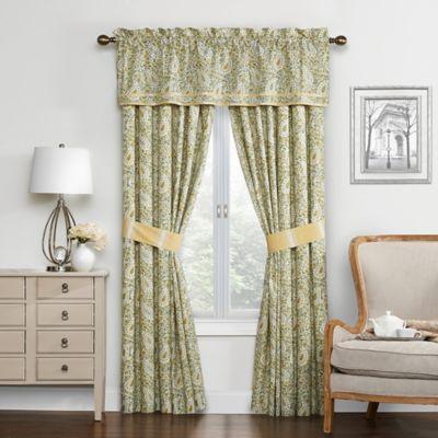 Waverly Paisley Verveine 84 Inch Window Curtain Panel Pair In Spring