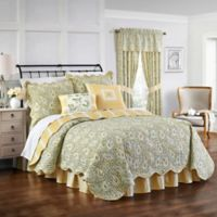 Waverly Paisley Verveine Reversible King Quilt Set in Spring