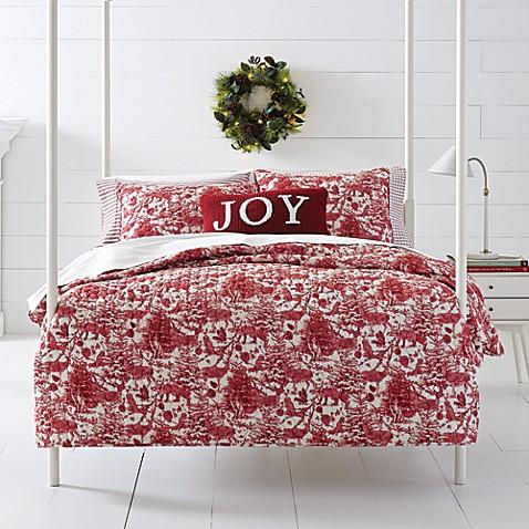 happy christmas winter elk quilt set in red