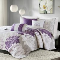 Madison Park Lola 6-Piece King/California King Coverlet Set in Grey/Purple