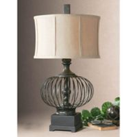 Uttermost Lipioni Rustic Table Lamp in Black with Linen Shade