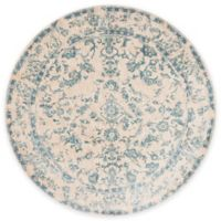 Loloi Rugs Florence Damask Border 7-Foot 10-Inch Round Area Rug in Ivory/Blue
