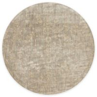 Loloi Rugs Florence Damask Border 7-Foot 10-Inch Round Area Rug in Stone/Ivory