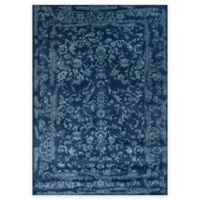 Loloi Rugs Florence Damask Border 6-Foot 7-Inch x 9-Foot 2-Inch Area Rug in Navy/Aqua