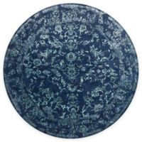 Loloi Rugs Florence Damask Border 7-Foot 10-Inch Round Area Rug in Navy/Aqua