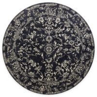 Loloi Rugs Florence Damask Border 9-Foot 6-Inch Round Area Rug in Black/Ivory