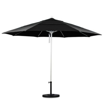 California Umbrella 11 Foot Double Vent Market Umbrella With White Pole In  Black