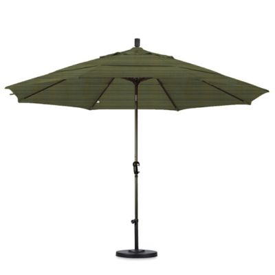 California Umbrella 11 Foot Auto Tilt Market Umbrella With Bronze Pole In  Fern