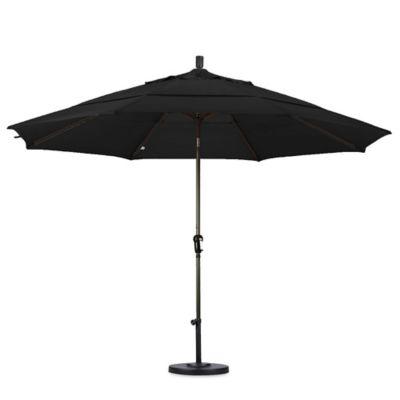 California Umbrella 11 Foot Auto Tilt Market Umbrella With Bronze Pole In  Black