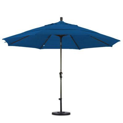 California Umbrella 11 Foot Auto Tilt Market Umbrella With Bronze Pole In  Blue