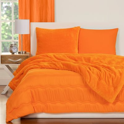 Crayola® Playful Plush 3 Piece Full/Queen Comforter Set In Orange