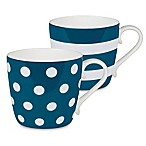 Konitz Dots and Stripes Mugs in Turquoise (Set of 2)