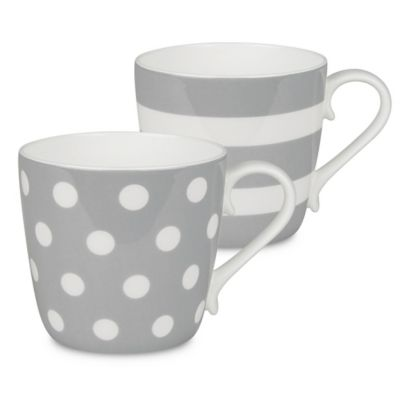 Konitz Dots And Stripes Mugs In Grey Set Of 2