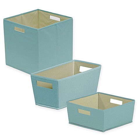 B in pastel turquoise fabric storage bin bed bath beyond for Turquoise bathroom bin