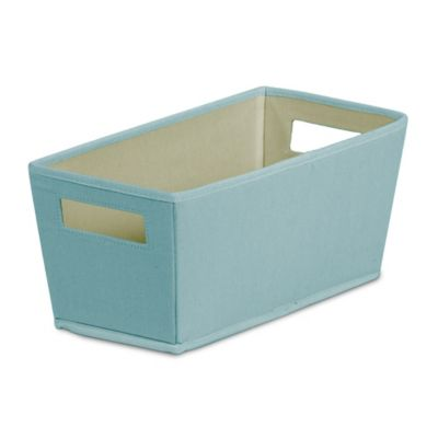 Buy b in dotted fabric quarter storage bin in coral from for Turquoise bathroom bin
