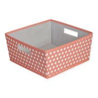 b+in® Dotted Fabric Half Storage Bin in Coral