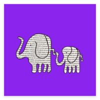 Newspaper Elephants Canvas Wall Art in Purple