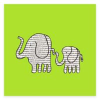 Newspaper Elephants Canvas Wall Art in Green