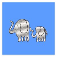 Newspaper Elephants Canvas Wall Art in Blue