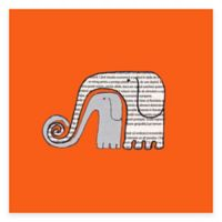 Newspaper Elephants Blue Canvas Wall Art in Green
