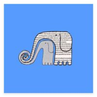 Newspaper Elephants Blue Canvas Wall Art in Blue