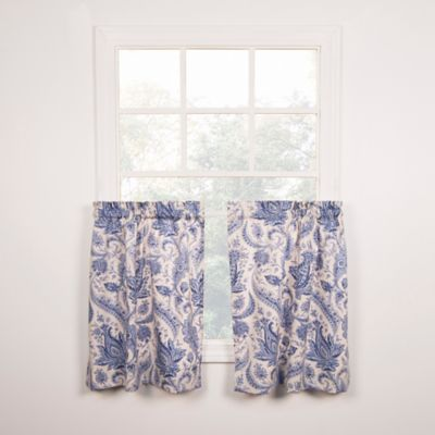 Artissimo Tailored 24 Inch Window Curtain Tier Pair In Blue