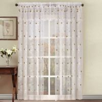 Astor 84-Inch Sheer Embroidered Rod Pocket Window Curtain Panel in Sable
