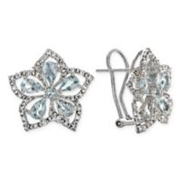Sterling Silver 2.04 cttw Aquamarine and Created-White Sapphire Rose de France Stud Earrings