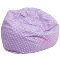 Flash Furniture Personalized Kids Large Bean Bag Chair in Lavender Dot