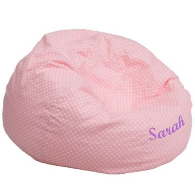 Flash Furniture Personalized Kids Large Bean Bag Chair In Pink Dot