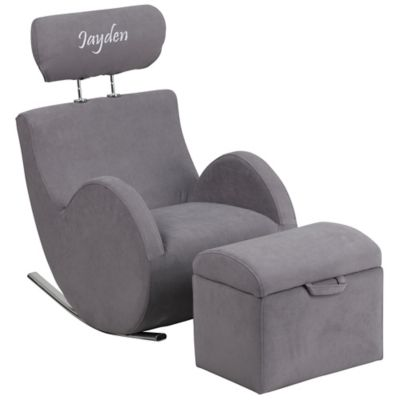 Personalized Furniture U003e Flash Furniture Personalized Kids Rocking Chair  And Ottoman Set In Grey