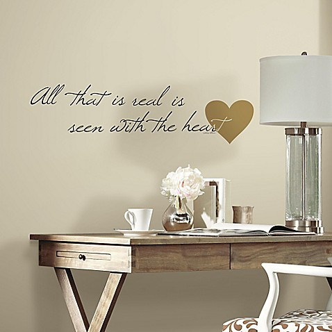 buy heart quote peel and stick wall decals from bed bath. Black Bedroom Furniture Sets. Home Design Ideas