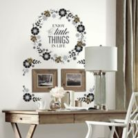 Floral Wreath Quote Peel and Stick Wall Decals with 3D Flowers
