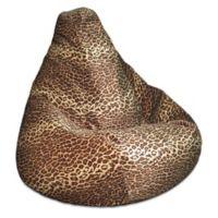Adult Size Velvet Bean Bag Chair in Leopard Print