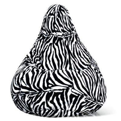 Adult Size Velvet Bean Bag Chair In Zebra Print