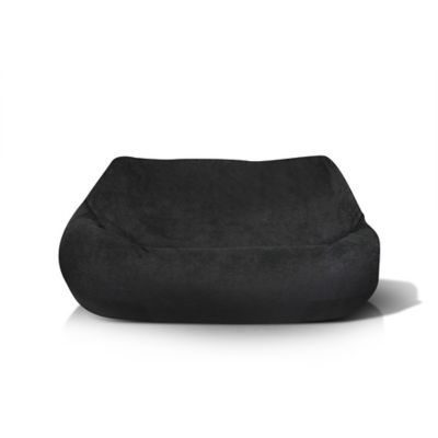 Two Seat Plush Bean Bag Chair In Black