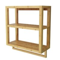 Bamboo 2-Tier Wall Shelf with Towel Bar