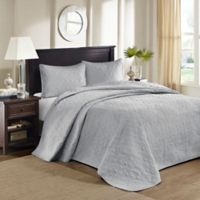 Madison Park Quebec Reversible King Bedspread Set in Grey