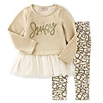 Juicy Couture™ Size 6-9M 2-Piece French Terry Top and Print Legging Set in Gold