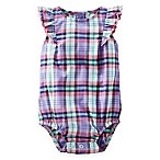 OshKosh Baby B'gosh® Size 9M Ruffle Sleeve Plaid Bodysuit in Purple