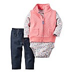 carter's Size 3M 3-Piece Quilted Vest, Bodysuit, and Jegging Set in Pink/Blue