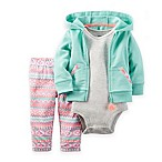 carter's® Size 3M 3-Piece French Terry Hoodie, Bodysuit, and Print Pant Set in Mint/Pink