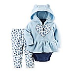 carter's® Newborn 3-Piece Floral Heart Hoodie, Bodysuit, and Pant Set in Blue